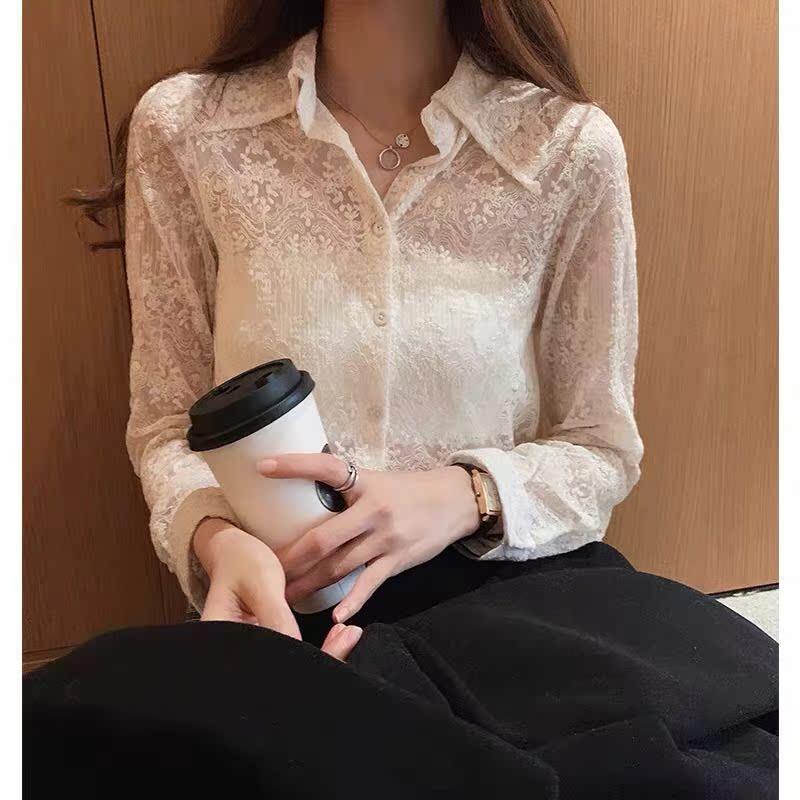 蕾丝打底衫女秋冬2019新款设计感白衬衫时尚洋气小衫内搭长袖上衣