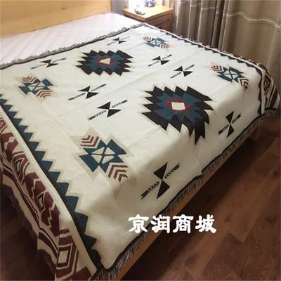 美式波西米亚纯棉针织毯子线毯 北欧沙发毯盖毯地毯毛毯