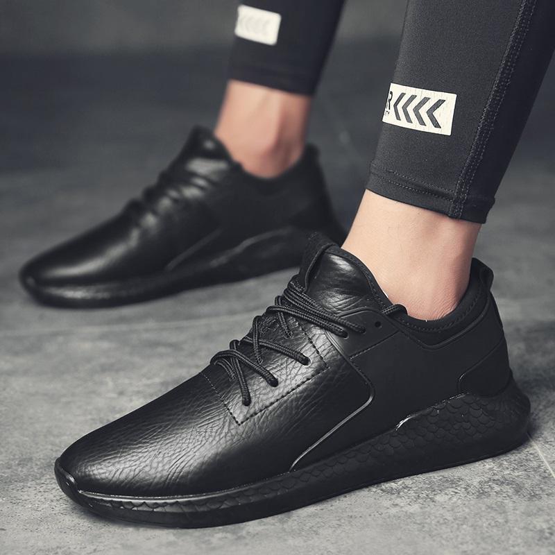 官网正品恩施耐克皮面官方运动鞋纯男鞋黑色鞋防水全黑轻便跑步鞋