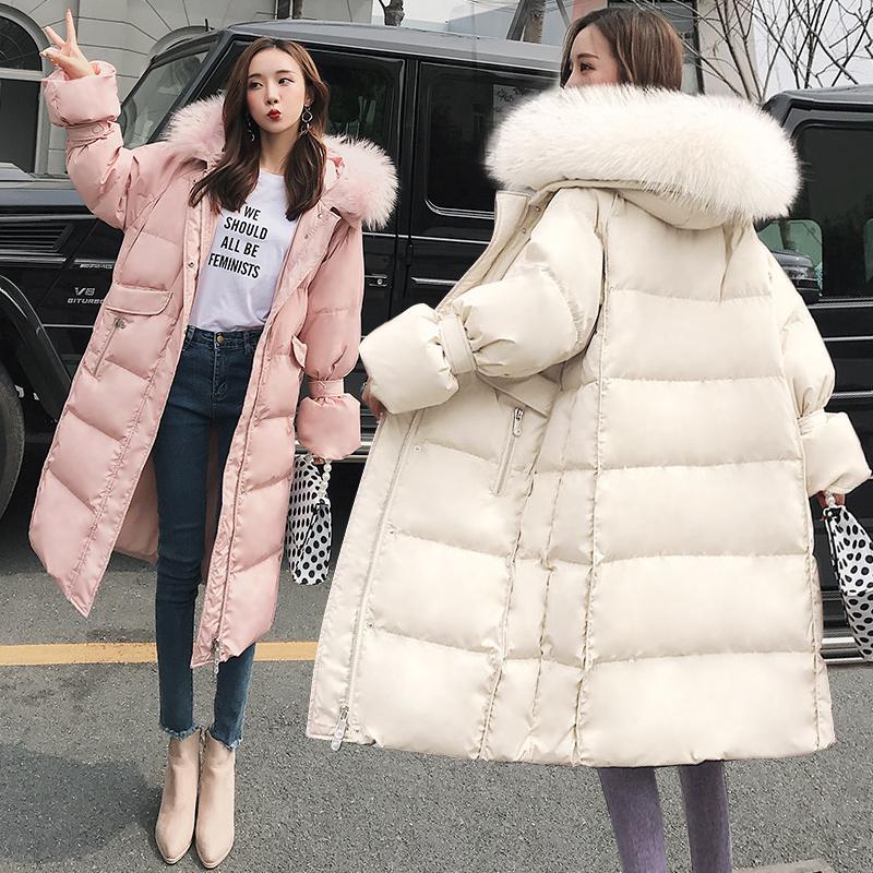 2019新款羽绒服女韩版中长款过膝加厚连帽大毛领冬装a冬装外套爆款