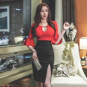 【高檔女裝】1976#新款現貨2019韓版修身拼接中袖收腰中...