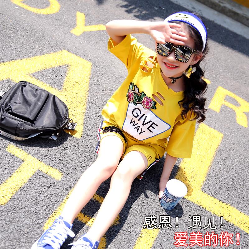 女童套装夏装2018新款韩版时尚儿童大童运动洋气两件套潮女孩衣服