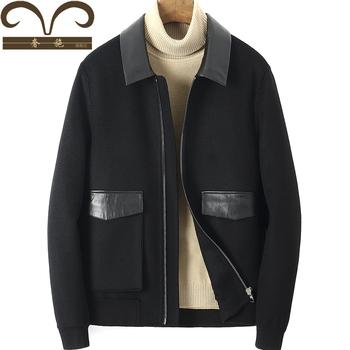 Новинка зимний осеннний дуплекс кашемир пальто мужчина рябь краткое модель действительно овчины дуплекс частица для вопросительного предложения шерсть сын куртка пальто, цена 16777 руб