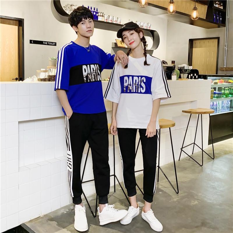 情侣装夏装2019新款短袖t恤学生百搭情侣款运动套装男潮牌两件套