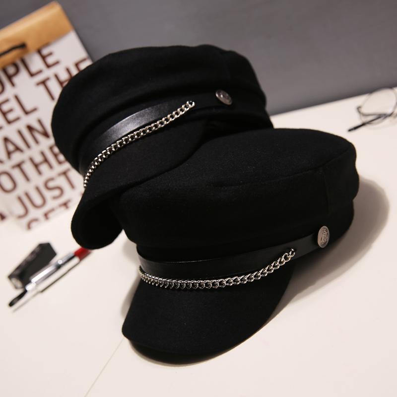 毛呢帽子女韩版潮秋冬天时尚日系海军贝雷帽女英伦复古网红八角帽