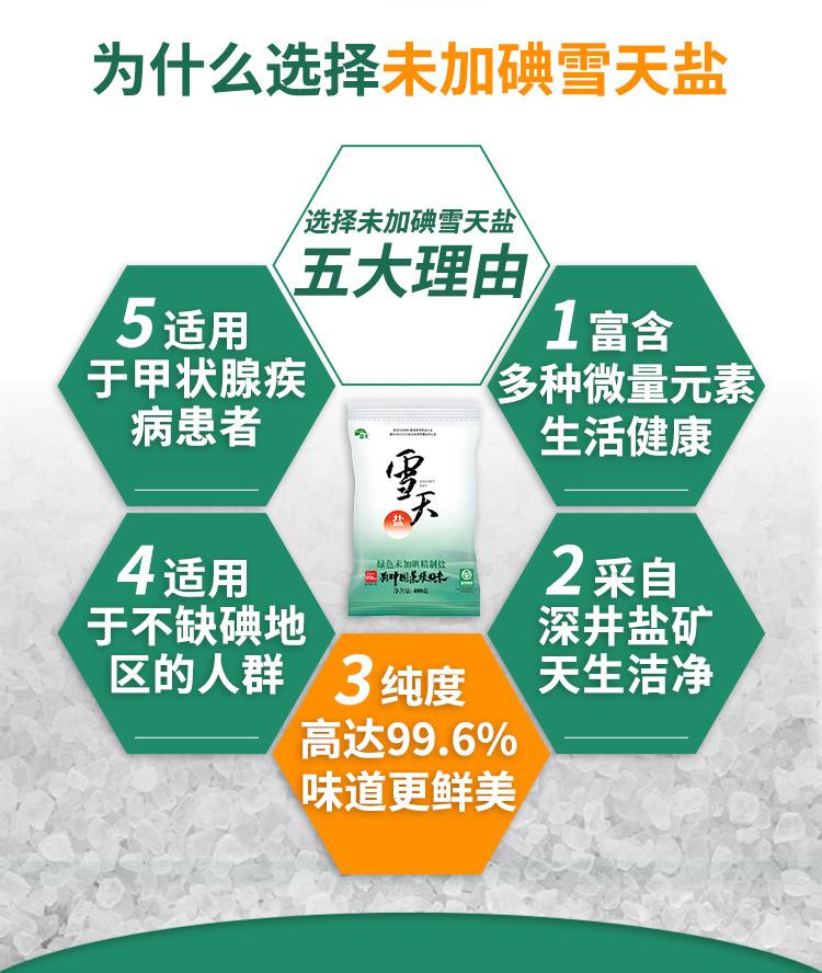 上市国营企业 雪天 不含碘精制食用盐 400g*7包 图4