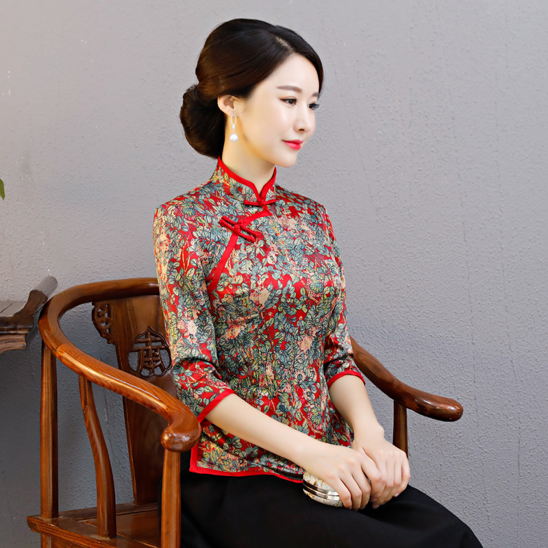 3bae74272 Cheongsam shirt daily fashion slim middle-aged Han Dynasty suit women's  suit retro two-piece Chinese Spring
