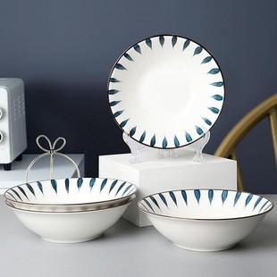 日式拉面碗陶瓷斗笠碗8寸2个装