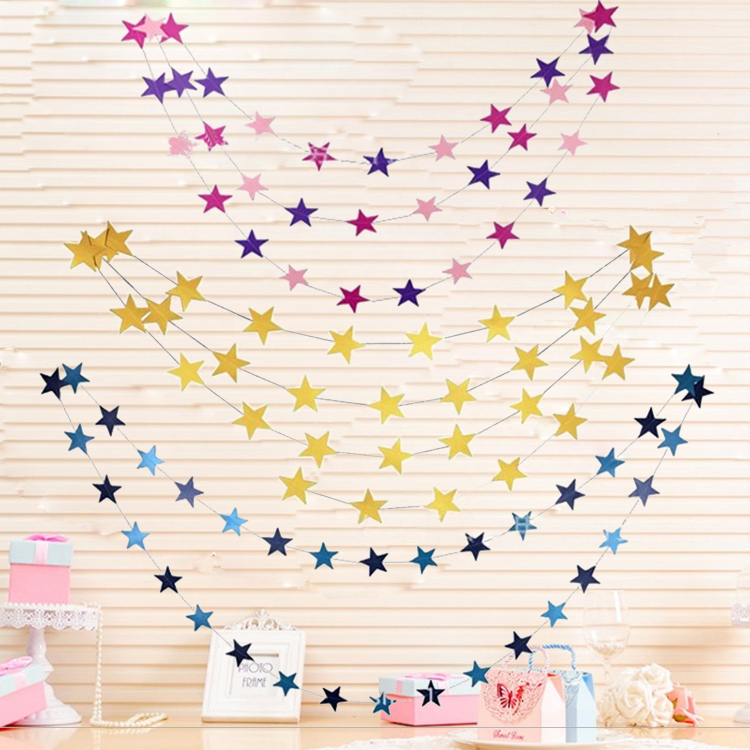 Yeezy Decoration Star Pull Flower Pendant Five-point Star Pull Flag String Flag Kindergarten Classroom is decorated on New Year's Day