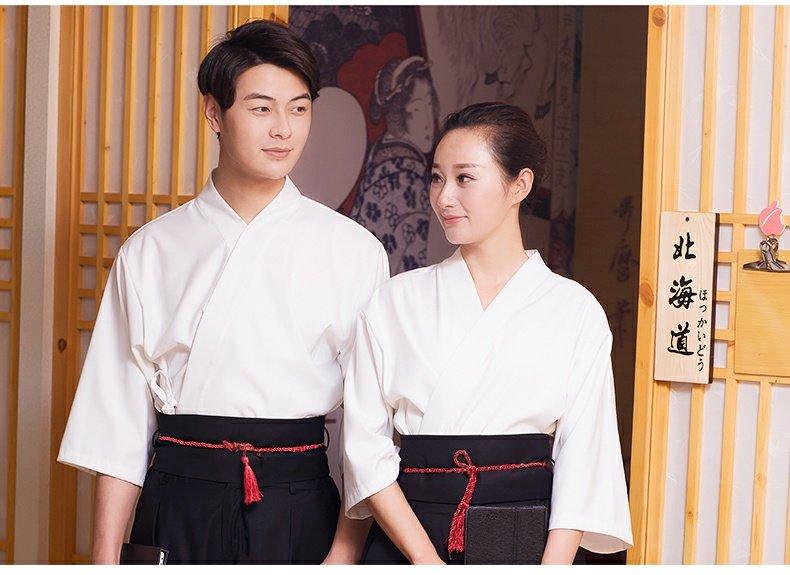 爱斯坦日本餐厅服务生工作服寿司店日式料理服白套装男女定制logo商品详情图