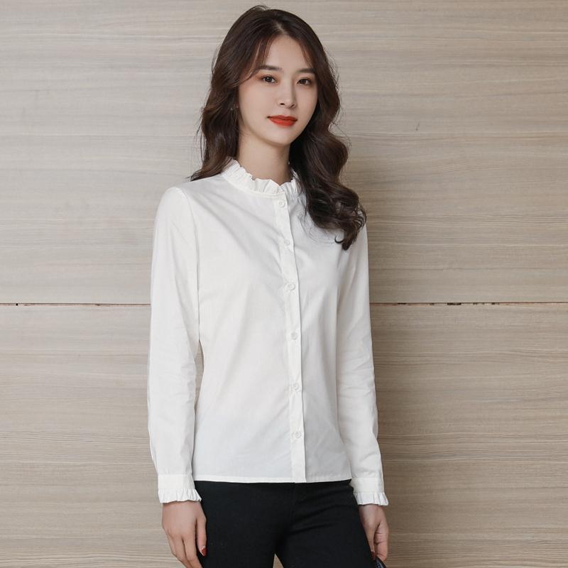 纯棉衬衫女长袖2021春秋装新款修身上衣气质木耳边立领打底白衬衣主图