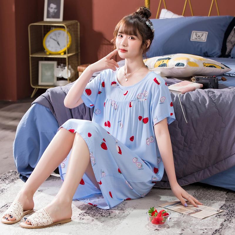 睡衣女夏季薄款胖mm人造棉大码吊带睡裙孕妇夏天宽松绵绸连衣裙子