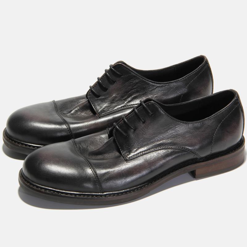 KIXSIZE阿美咔叽美式复古手工鞋厚底擦色三接头v咔叽皮鞋男工装鞋