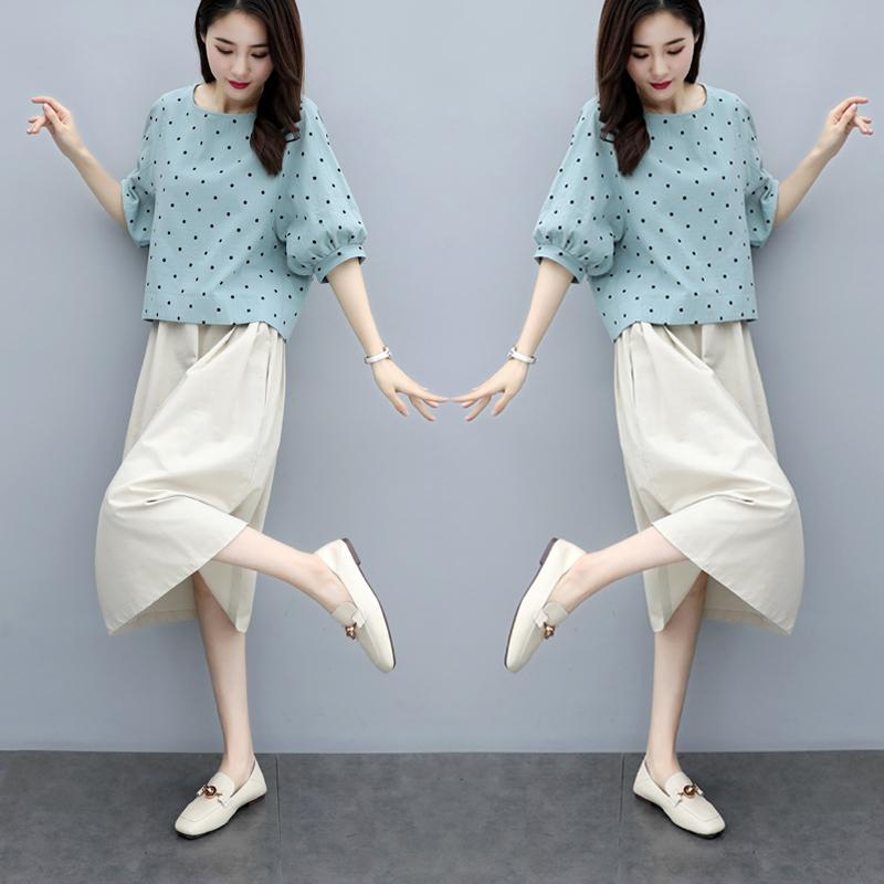 套装连衣裙2019棉麻新款件套韩版大码宽松显瘦亚麻女装夏装两裙子