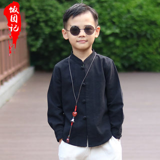The Republic of China boy's tunic children's Tang suit tops Chinese style children's clothing autumn cotton and linen shirts Chinese retro students