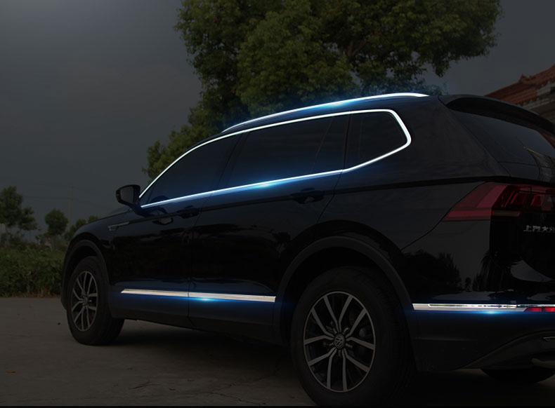 Viền cong kính, giá nóc, nẹp sườn và ốp viền đít xe Volkswagen Tiguan 2017- 2019 - ảnh 1