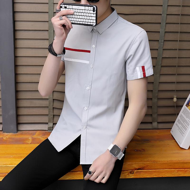 新款短袖衬衫男潮流时尚休闲百搭修身男士衬衣