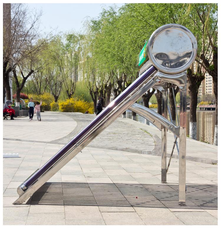 新型不锈钢太阳能热水器家用一体式全自动智能光电加热两用紫金管详细照片