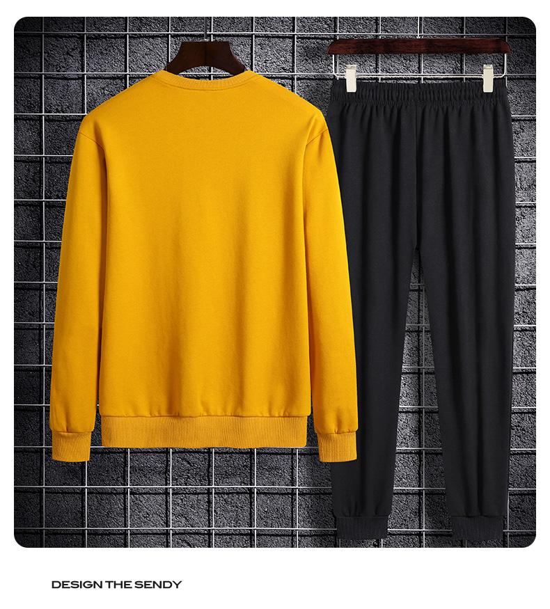 春秋季新款运动套装男宽鬆舒适长袖恤跑步休閒运动服两件套详细照片