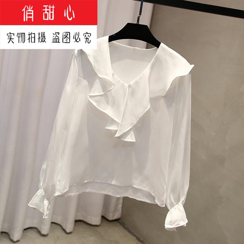 2019 простой американские товары тендер феи бесплатная доставка осенью новый V воротник кривляние рубашка темперамент рукав на 606984303149