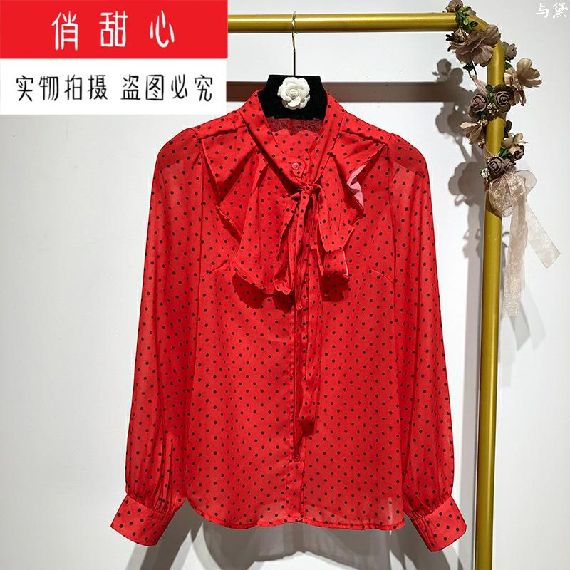 2019 осень европа и америка чистый красный ins ветер печать длинный рукав кружево бант тонкий рубашка женщина порт ветер рубашка куртка 605016050880