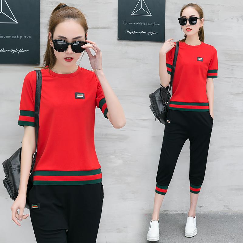 夏季运动休闲套装女韩版短袖运动服两件套优惠券10元天猫店铺包邮
