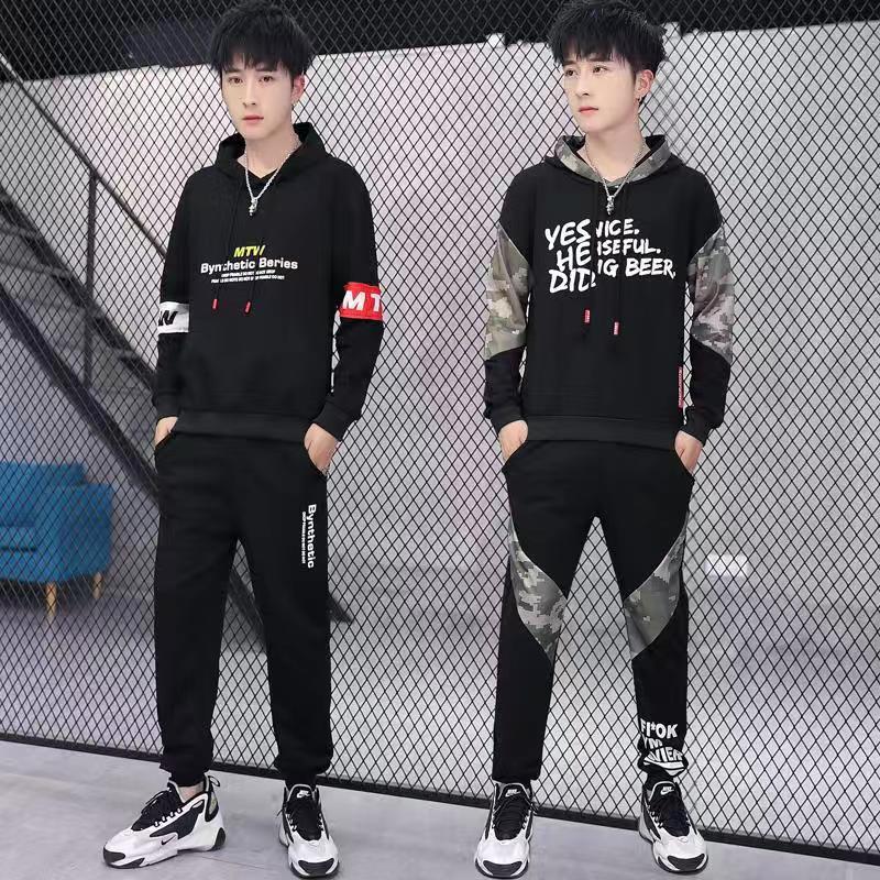 2019 mùa thu mới cho nam thể thao giản dị phù hợp với xu hướng áo khoác hàn quốc thương hiệu quần áo nam sinh viên đẹp trai - Bộ đồ