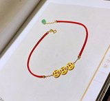 Foot gold 999 gold coin red rope foot chain pure gold copper money transfer beaded woven rope children's fetail gift