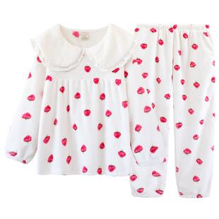 法蘭絨睡衣女秋冬款加厚草莓點點