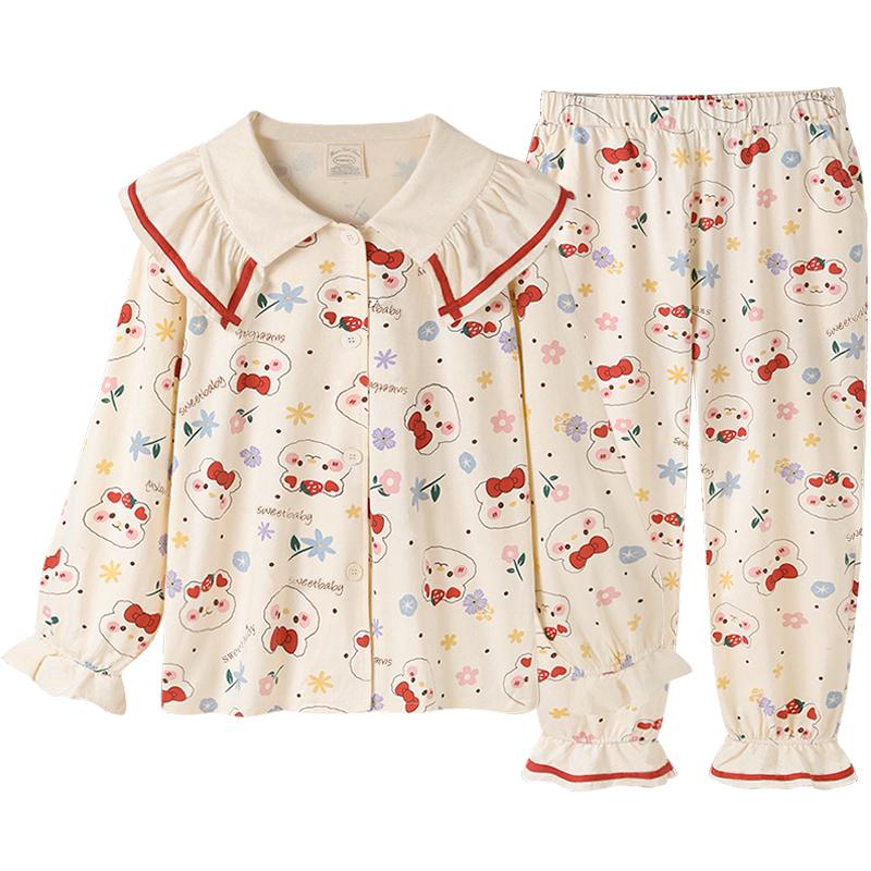 Pinksea睡衣女春秋纯棉长袖长裤套装甜美可爱兔可外穿新款家居服