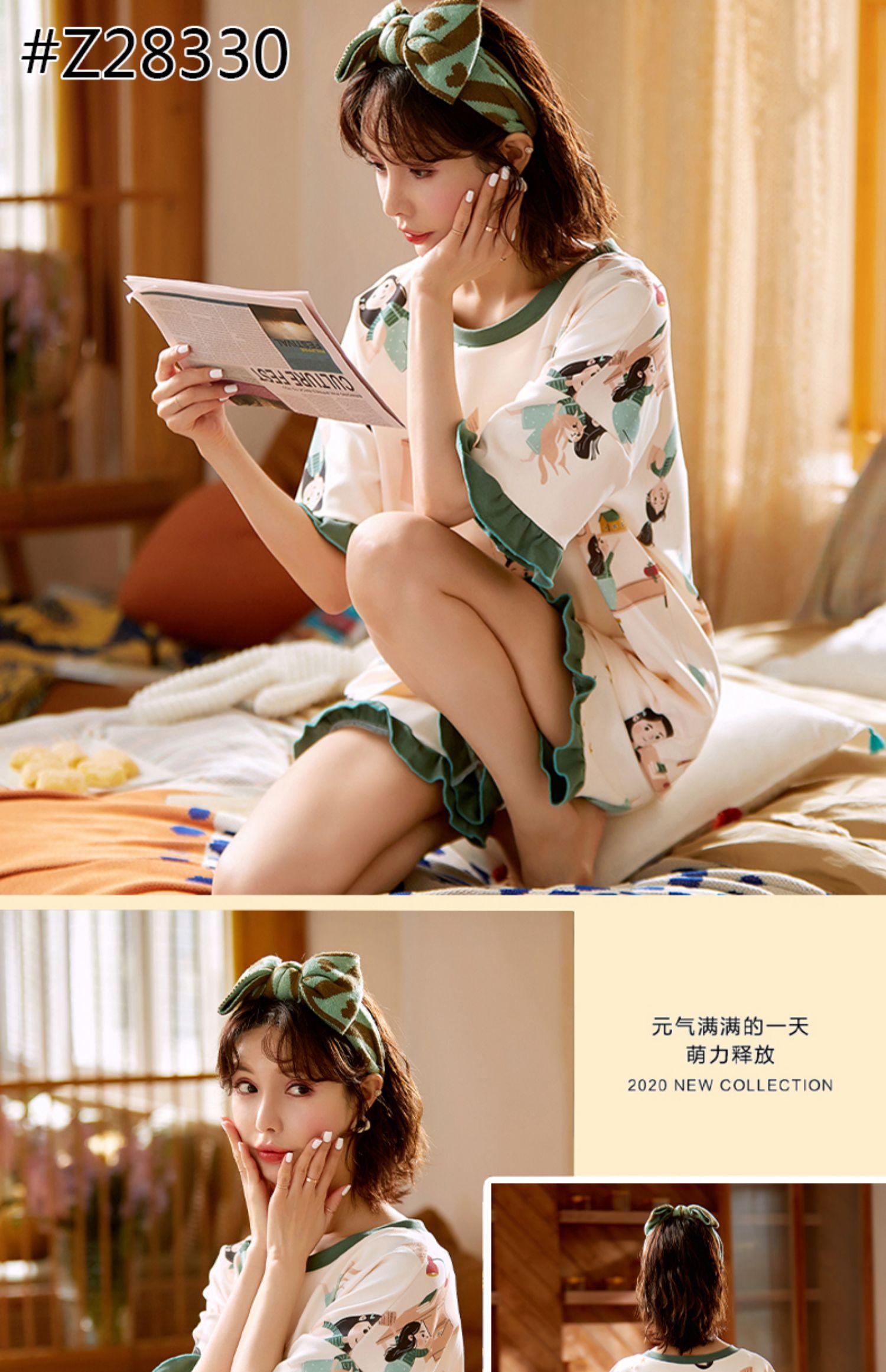 夏季两件套装短袖纯棉2021年薄睡裙