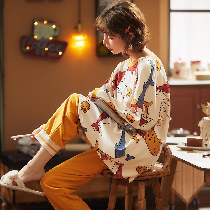 睡衣女春秋季纯棉长袖女士可外穿秋冬全棉韩版学生可爱家居服套装