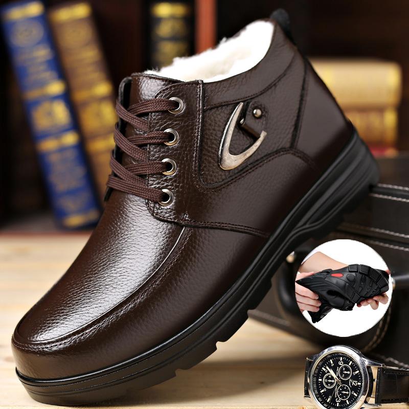 加绒休闲皮鞋男士中老年棉鞋系带真皮高帮男