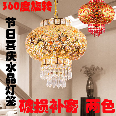 Special offer crystal red lantern 360 degree rotating lantern lamp festive Chinese chandelier corridor balcony chandelier