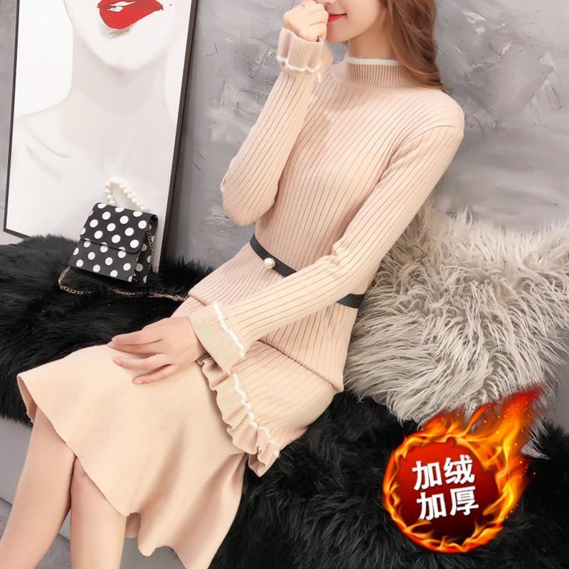 袖打底针织衫带有裙摆的毛衣女冬天穿在大衣里面的长款裙子连衣裙