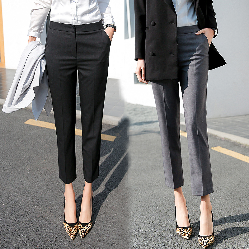 7b5c3e62a6eb Aizhouni spring and autumn suit pants Korean version of the female trousers  nine points straight slim small casual wild professional dress pants