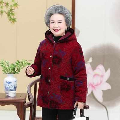 奶奶冬装棉衣中老年加绒加厚外套连帽棉袄