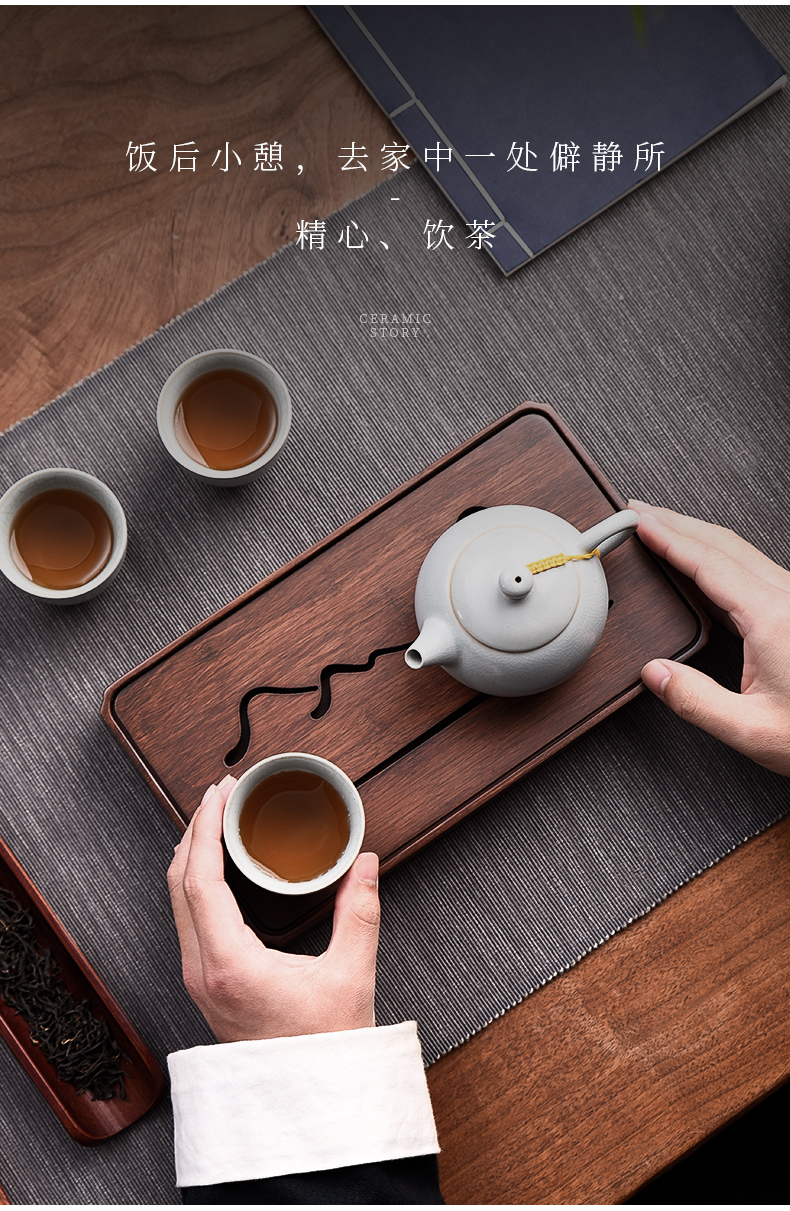 The Story of pottery and porcelain tea tray household solid wood pallet heavy bamboo dried small water type saucer tea sea small tea table