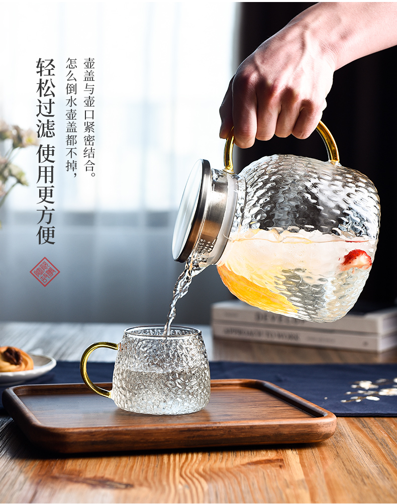 A Cold bottle of household glass kettle high temperature resistant ceramic story high - capacity light much Cold water cup cool suit kettle