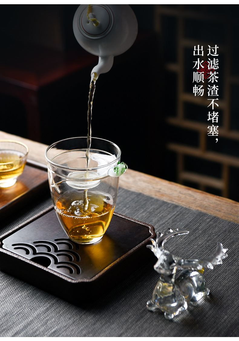 Ceramic slip through creative story glass tea mercifully tea filter an artifact household water separation kung fu tea set accessories