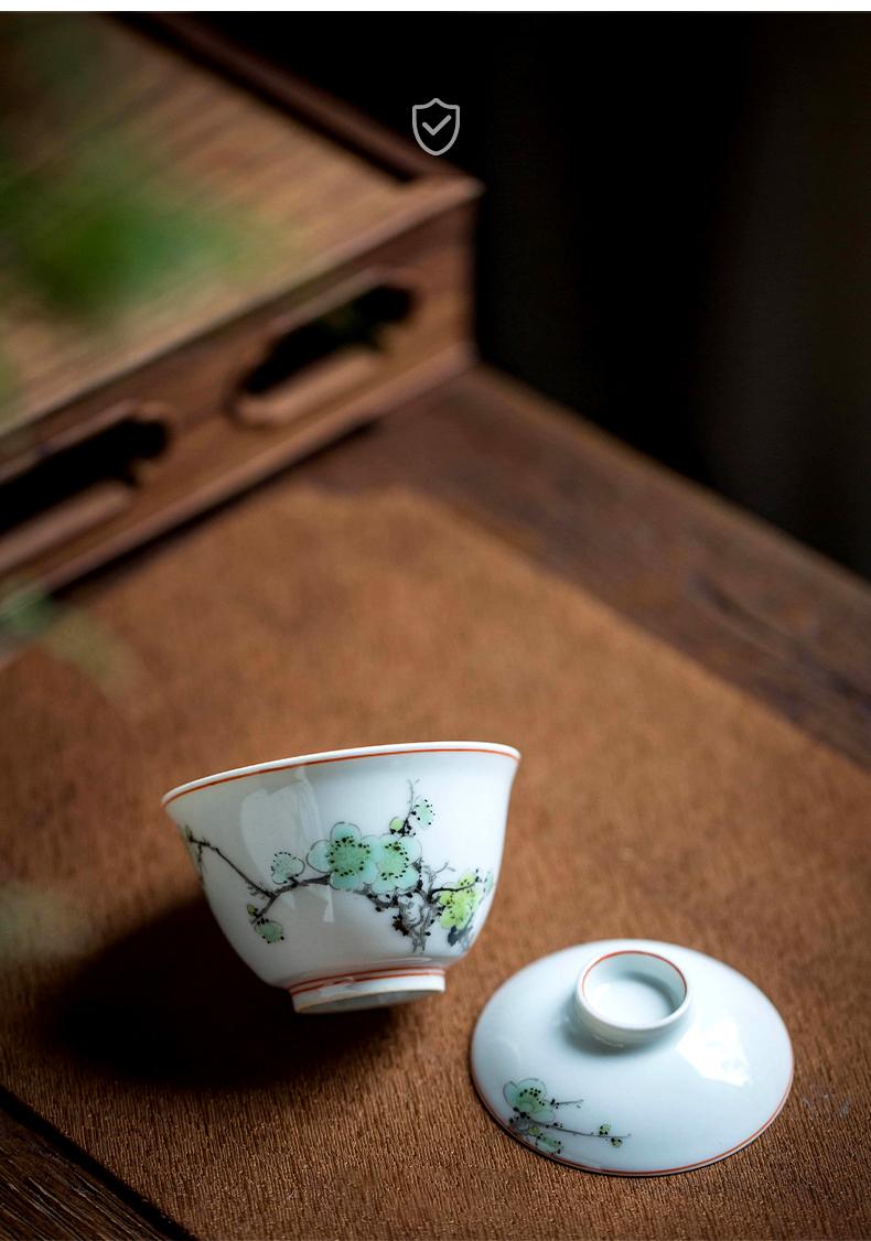 High - end checking hand - made ceramic story town tureen three tureen single name plum lead small tureen