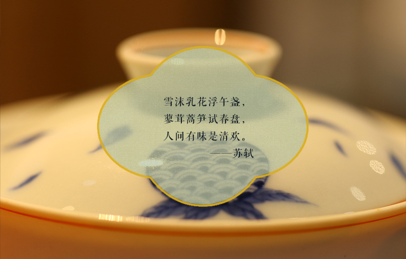 High - end checking hand - made ceramic story town tureen three tureen only a single blue sanduo footed tureen