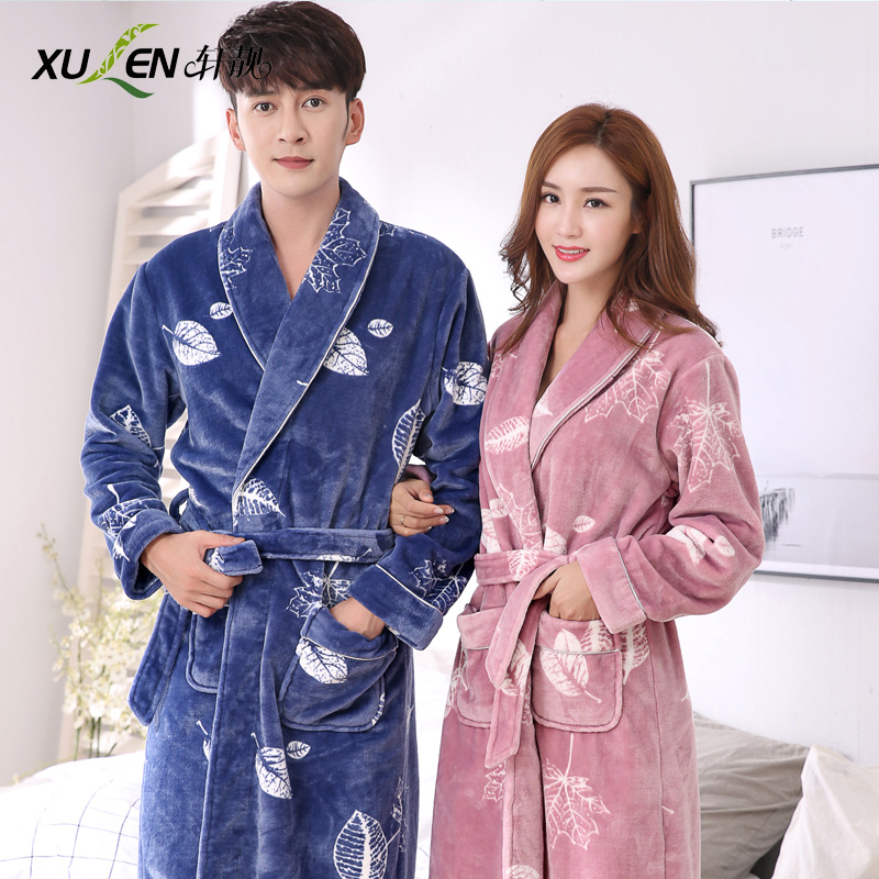 3fe9241266 Couple nightgown autumn and Winter Ladies coral velvet long-sleeved  bathrobe bathrobe flannel thickened plus