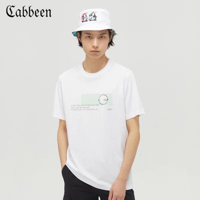 卡宾男装白色圆领短袖T恤2020春夏新款薄荷绿印花简约清爽上衣A