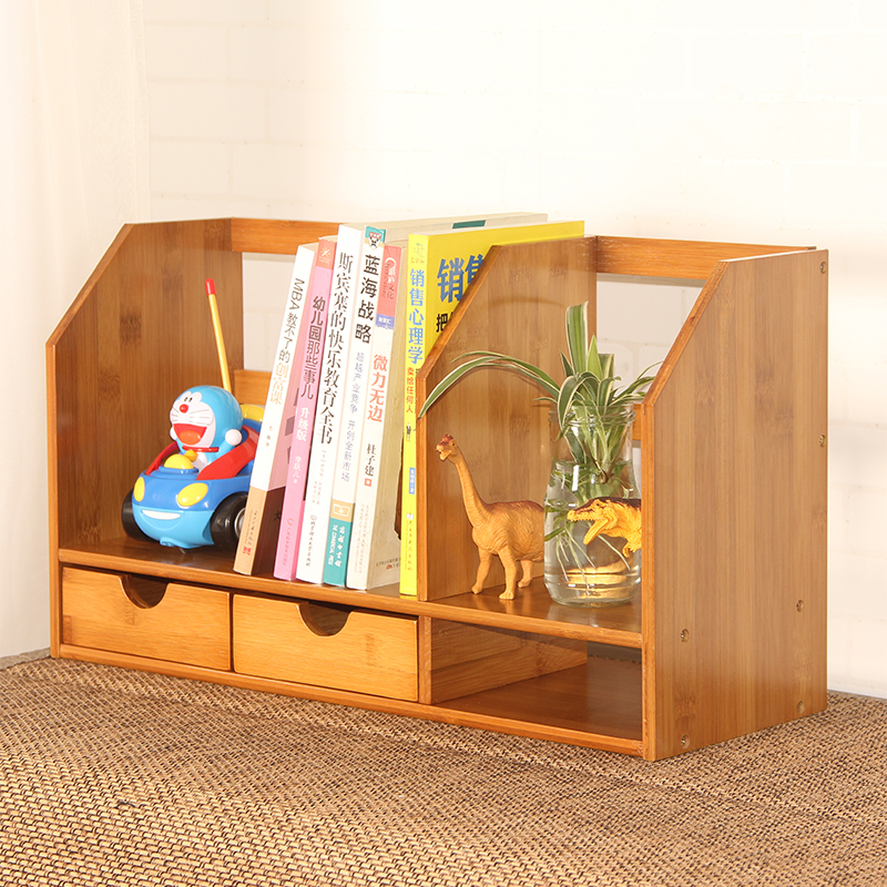 Double Student Desktop Small Bookshelf Storage Rack Desk Shelf Simple Solid Wood Creative Office Bamboo