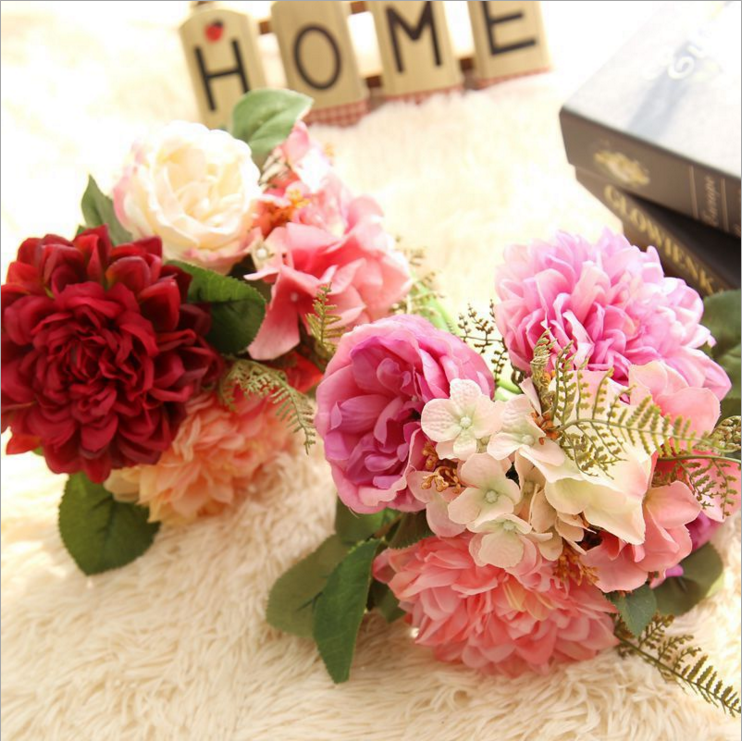 USD 11.63] Han-style simulation flower bouquet Dahlia roses fake ...