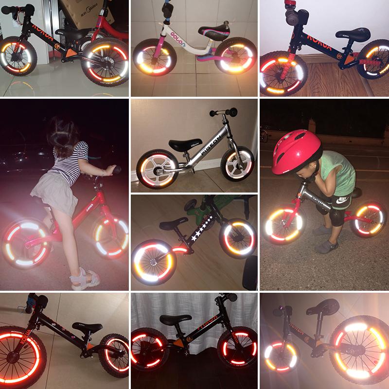 轮胎滑步装饰车反光贴strider儿童平衡贴纸自行车夜光配件改装条