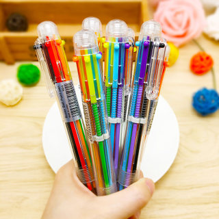 T Day Korea Creative Cute Cartoon Multi-color Ballpoint Pen Multifunction Press Color Personality Oil Pen Stationery 6 Color Pen