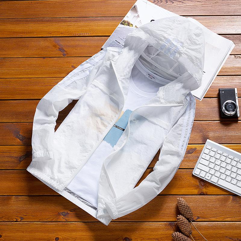 Quần áo chống nắng ba thanh nam phong cách Hàn Quốc thương hiệu hợp thời trang siêu mỏng thoáng khí mùa hè trẻ trung áo chống nắng trắng - Áo khoác đôi