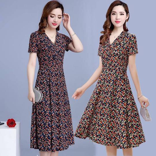 Dress spring and summer women's middle-aged floral long mother dress 2019 new slim slimming simple print